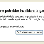 Avviso about:config di Firefox