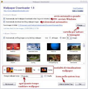 Impostazioni di Wallpaper Downloader